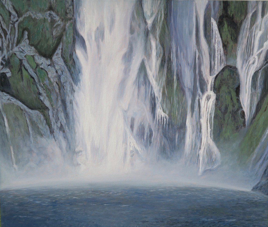 Painting of Waterfall of Milford Sound by Niko Dujmovic